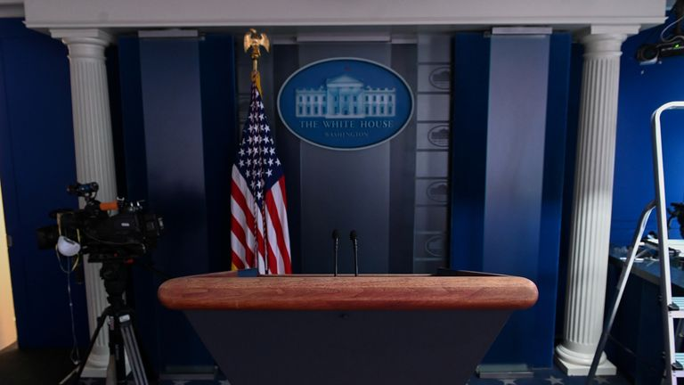 Mr Trump did not hold a briefing on Saturday and hit out at the press for asking 'nothing but hostile questions'