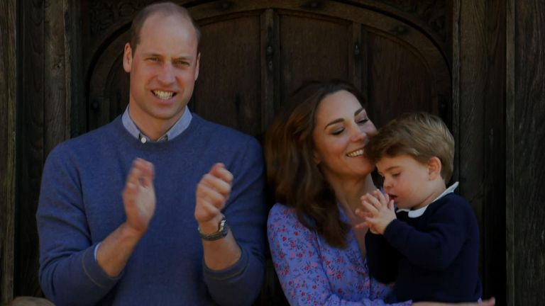 The Duke and Duchess of Cambridge, and their children, joined the nation in clapping for our carers