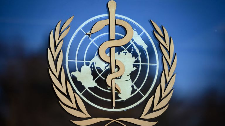 A photo taken on February 24, 2020 shows the logo of the World Health Organization (WHO) at their headquarters in Geneva. - Fears of a global coronavirus pandemic deepened on February 24, 2020 as new deaths and infections in Europe, the Middle East and Asia triggered more drastic efforts to stop people travelling. (Photo by Fabrice COFFRINI / AFP) (Photo by FABRICE COFFRINI/AFP via Getty Images)