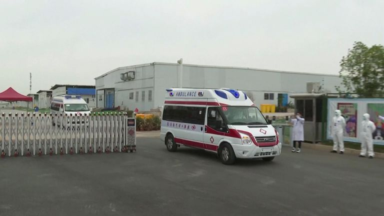 Ambulances transferring last patients from Leishenshan Hospital