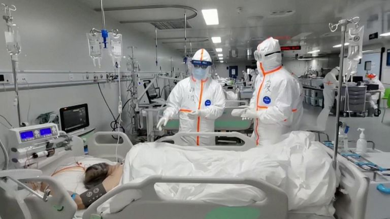 Patients being treated in Leishenshan Hospital's ICU