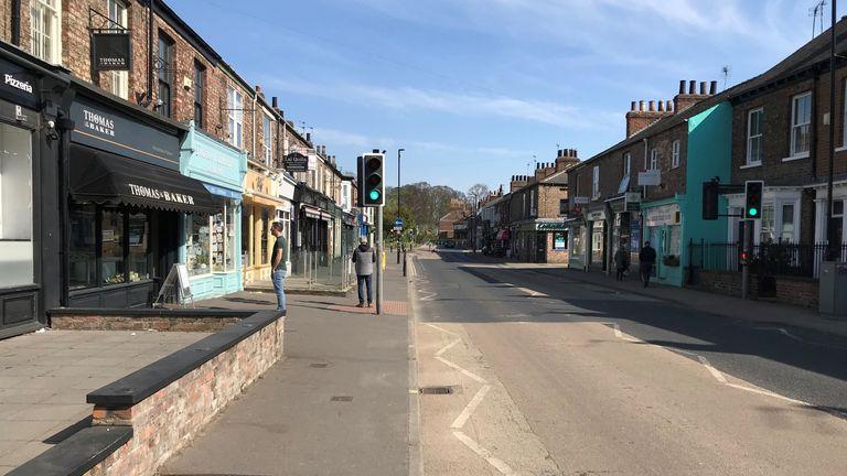 A deserted high street in York amid the UK coronavirus lockdown