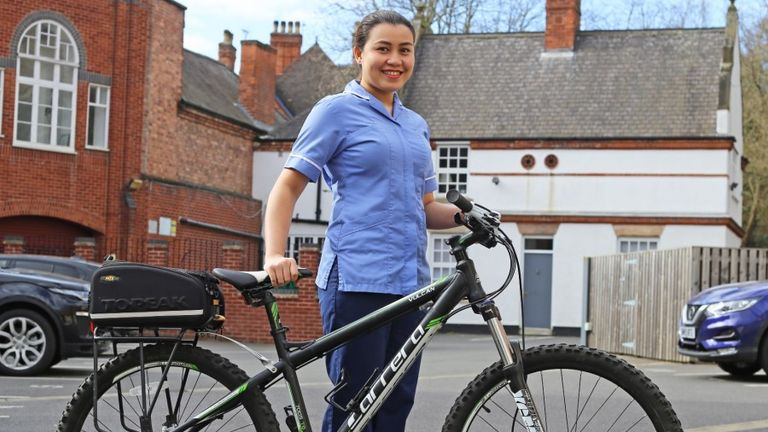 Karen Udtohan was donated a bike by police when hers was stolen.  Pic: Nottinghamshire Police
