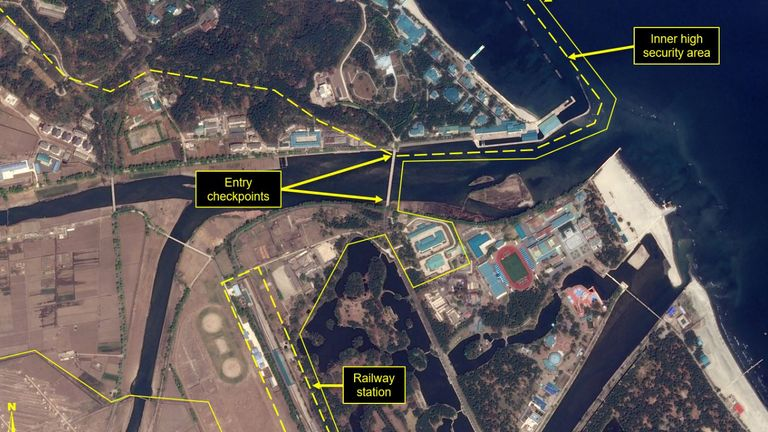Satellite images have given an aerial view of the resort town of Wonsan. Pic: 