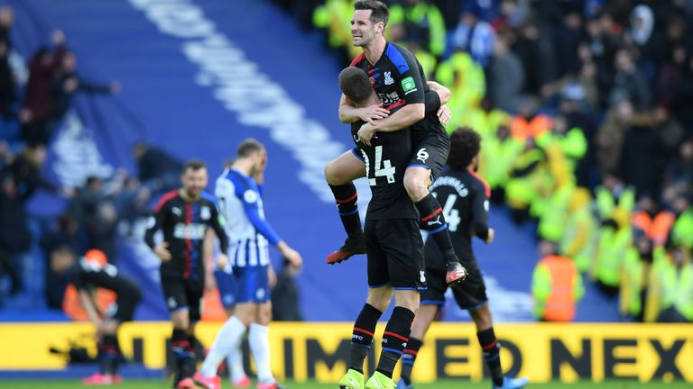 Brighton, seen here following a 1-0 home defeat to bitter rivals Crystal Palace in February, are currently two points from the relegation zone in the Premier League table
