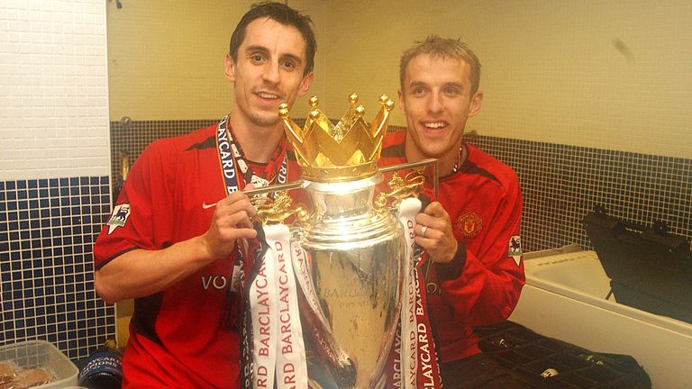 Gary Neville and Phillip Neville with the Premiership Trophy              ..Everton v Manchester United, Goodison Park, Liverpool 11/05/2003, Barclaycard Premiership