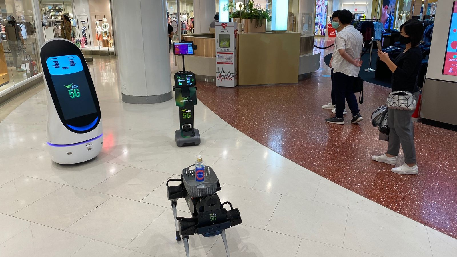 Coronavirus: The robots trying to protect shoppers from COVID-19 in Thailand - Sky News
