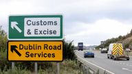 """Signs point to an old customs and excise area on the Dublin road in Newry, Northern Ireland, on October 1, 2019 on the border between Newry in Northern Ireland and Dundalk in the Irish Republic. - Britain will give the EU new proposals for a Brexit deal """"shortly"""", Prime Minister Boris Johnson said on October 1, but rejected reports it would see customs posts along the Irish border. (Photo by PAUL FAITH / AFP) (Photo by PAUL FAITH/AFP via Getty Images)"""