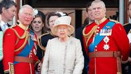 Prince Charles, Prince of Wales, Queen Elizabeth II and Prince Andrew, Duke of York watch a flypast from the balcony of Buckingham Palace during Trooping The Colour, the Queen's annual birthday parade, on June 8, 2019 in London, England