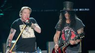 Axl Rose (L) and Slash of Guns N' Roses perform in concert during weekend one of the 2019 ACL Fest at Zilker Park on October 4, 2019 in Austin, Texas