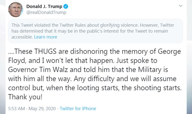 George Floyd death: Twitter flags Trump post 'when the looting starts, the shooting starts' for 'glorifying violence'