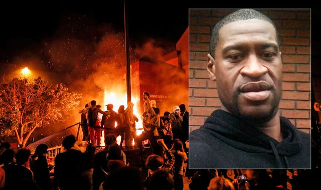 George Floyd death: Minneapolis police station set on fire during protests as Trump attacks 'thugs'