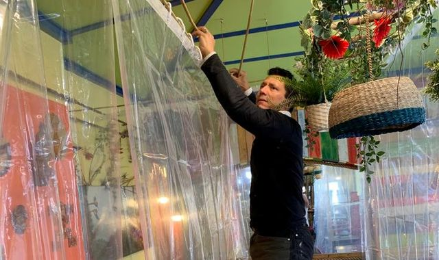 Coronavirus: Worcester cafe preparing to reopen by using shower curtain dividers