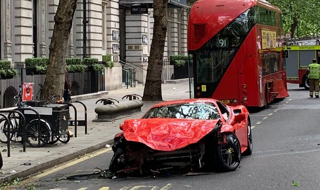 Rapper Swarmz 'involved in £250,000 Ferrari crash with London bus'