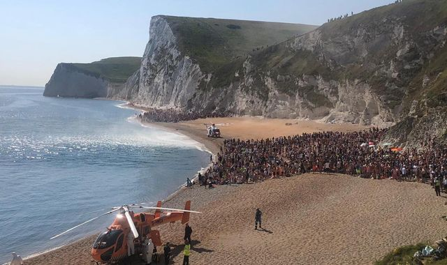 Beachgoers forced to crowd together after three seriously injured in cliff-jumping at Durdle Door