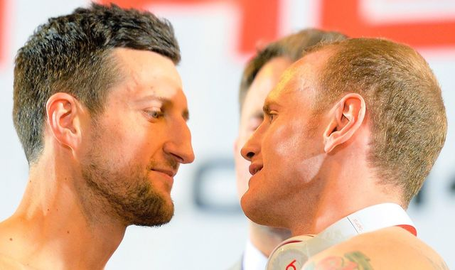 Carl Froch and George Groves became embroiled in a heated row before Wembley rematch