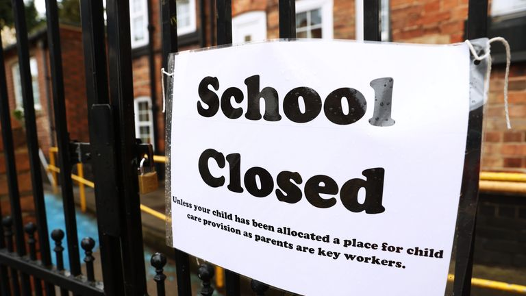 "File photo dated 30/03/20 of a sign on the gates of a closed school. School closures during the Covid-19 lockdown could leave disadvantaged children with a ""learning loss"" of up to six months, social mobility experts have warned."