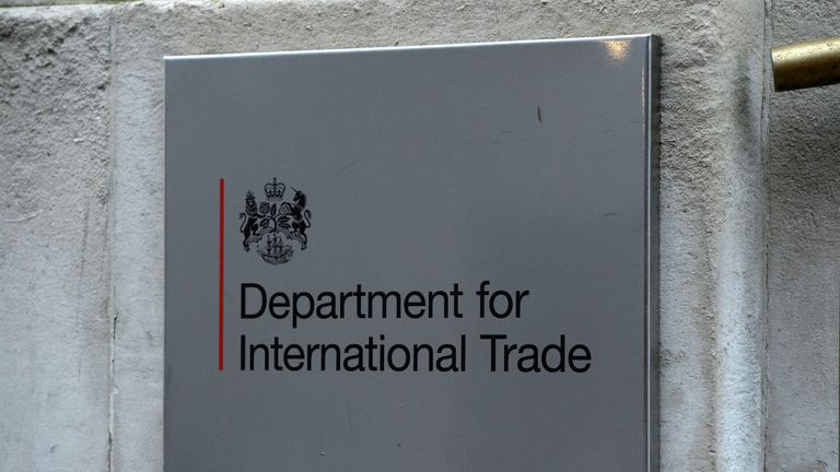 A view of signage for the Department for International Trade in Westminster, London.