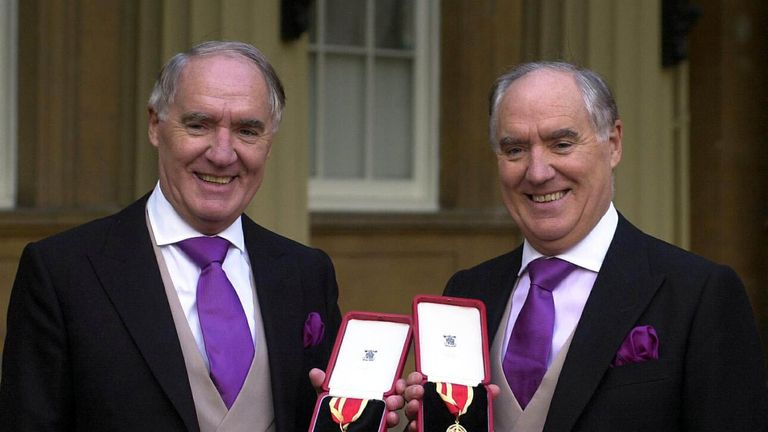 File photo dated 31/10/00 of multi-millionaires Sir David Barclay (left) and his twin brother Sir Frederick after receiving their knighthoods from the Queen at Buckingham Palace. The High Court is set to hear the latest round of the legal battle between Sir Frederick Barclay and his nephews over secret recordings made by a bug placed in the conservatory at the Ritz hotel.