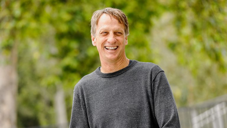 "SANTA MONICA, CALIFORNIA - FEBRUARY 21:  Pro-skater Tony Hawk  on the IMDb Series ""Special Skills"" in Los Angeles, California.  This episode of ""Special Skills"" airs on February 25, 2020.  (Photo by Rich Polk/Getty Images for IMDb)"