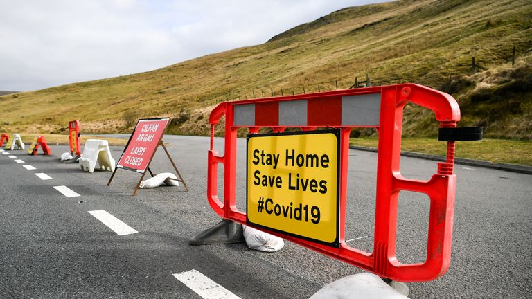 All laybys are closed and roads deserted along the A470 near Pen y Fan in the Brecon Beacons National Park, Wales, as the UK continues in lockdown to help curb the spread of the coronavirus.