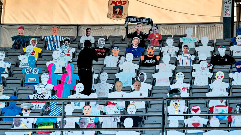 Cardboard cut-out of fans are seen in the stands during the 3F Super League football match between AGF and Randers FC at Ceres Park in Aarhus, Denmark, on May 28, 2020, as the season resumed following a two-month absence due to the novel coronavirus COVID-19 pandemic