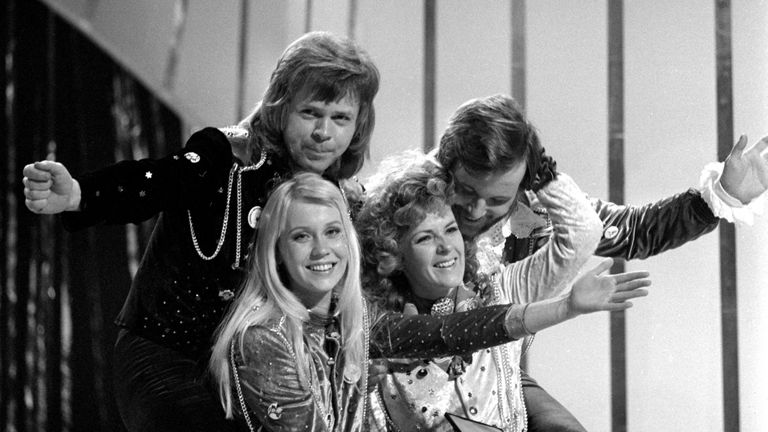 Abba congratulate each other after winning the Eurovision Song Contest in 1974