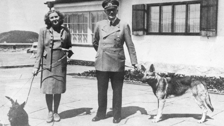 Hitler and Eva Braun with their dogs at Berchtesgaden
