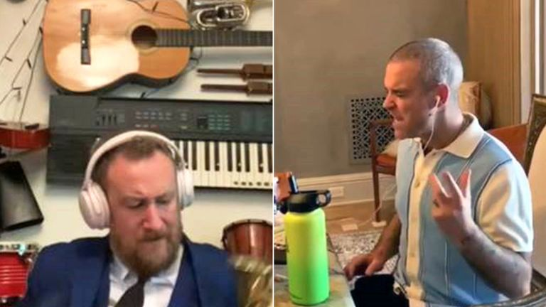 Comedian Alex Horne has reworked a reggae version of Angels with Robbie Williams in lockdown