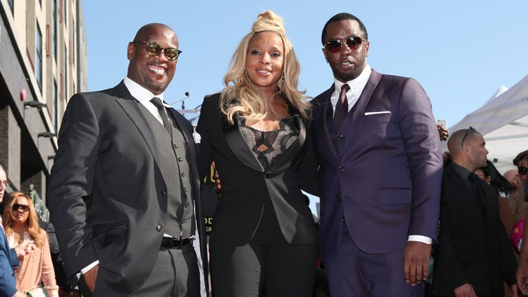 Andre Harrell, Mary J Blige, and Sean 'Puffy/Diddy' Combs as she is honoured with a  star on Hollywood's Walk of Fame