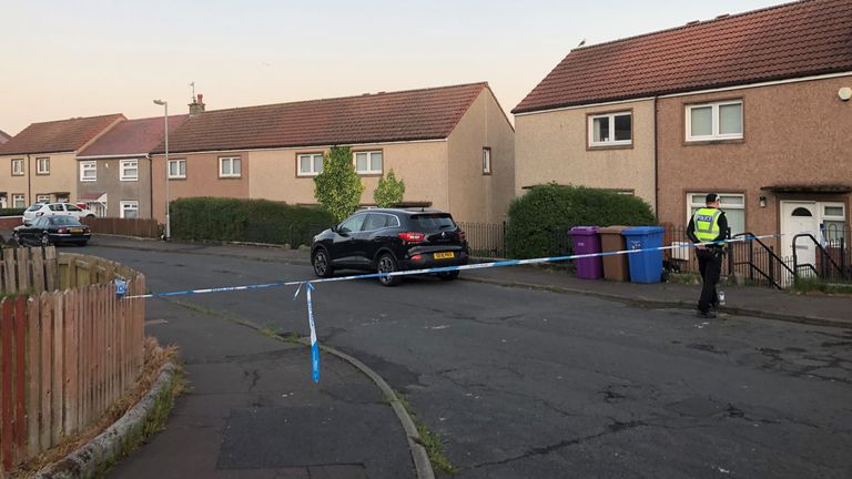 Police at the scene of a shooting in Nithsdale Road, Ardrossan in North Ayrshire, where a 42-year-old man has died following a shooting. Police Scotland said a search is ongoing in Ardrossan for the suspect.