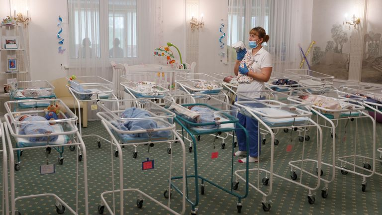 A nurse and newborns are seen in the Hotel Venice owned by BioTexCom clinic in Kiev, Ukraine May 14, 2020