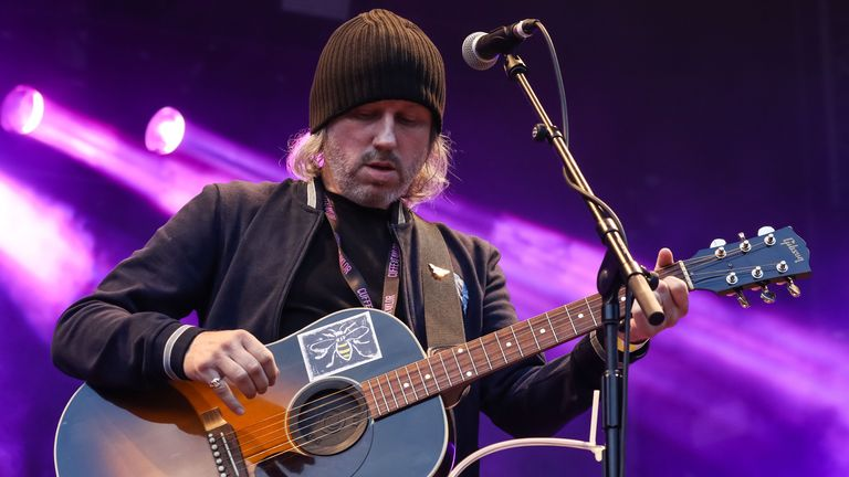 Badly Drawn Boy performing as support for James at Scarborough Open Air Theatre on August 18, 2018 in Scarborough, England