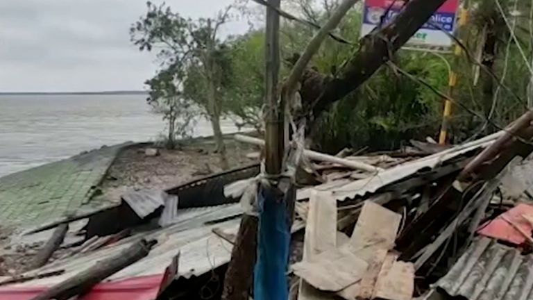 Devastation in Bangladesh after a cyclone tore across the land