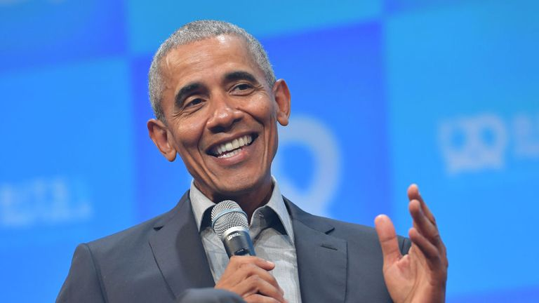 "MUNICH, GERMANY - SEPTEMBER 29: Former U.S. President Barack Obama speaks at the opening of the Bits & Pretzels meetup on September 29, 2019 in Munich, Germany. The annual event brings together founders and startups from across the globe for three days of networking, talks and inspiration. during the ""Bits & Pretzels Founders Festival"" at ICM Munich on September 29, 2019 in Munich, Germany. Bits & Pretzels is an application-only, three-day festival that connects 5,000 founders, investors, startu"
