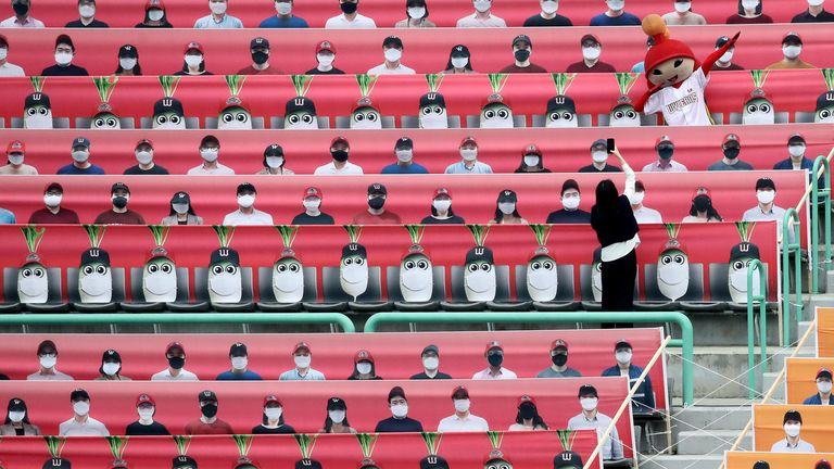 The stands at SK Wyverns club's Happy Dream Ballparkwere empty apart from cardboard cut-outs
