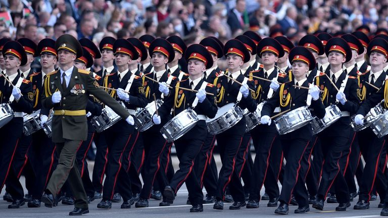 The VE Day parade went ahead in Belarus, complete with military bands