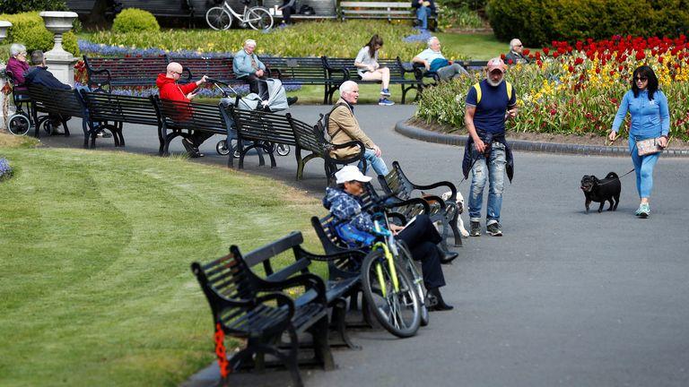 People socially distance in Belfast
