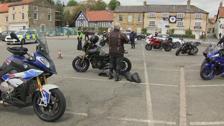 Bikers abide by social distancing in Helmsley
