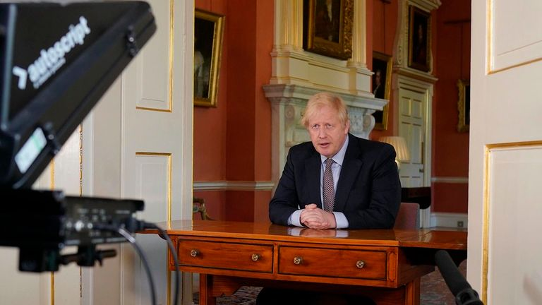 Boris Johnson's speech was pre-recorded in Downing Street. Pic: Andrew Parsons/No 10 Downing Street