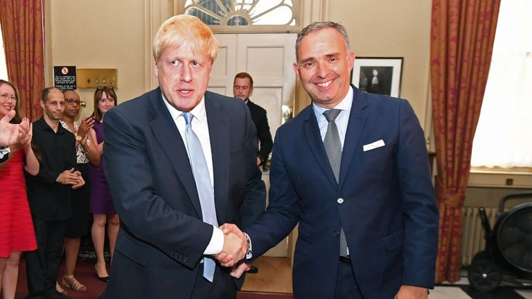 Boris Johnson, left, and Sir Mark Sedwill, right, are pictured here in July 2019