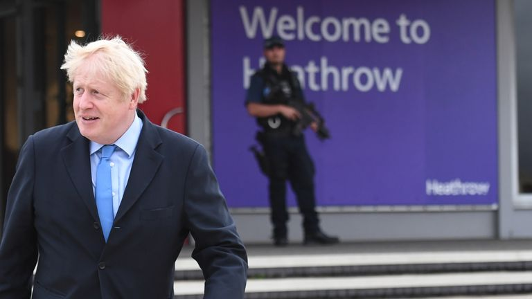 Prime Minister Boris Johnson boarding his plane at Heathrow Airport as he heads off for the annual United Nations General Assembly in New York 22/9/2019
