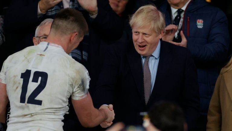 England captain Owen Farrell shakes hands with Boris Johnson after the England v Wales Six Nations match at Twickenham on 7 March 2020