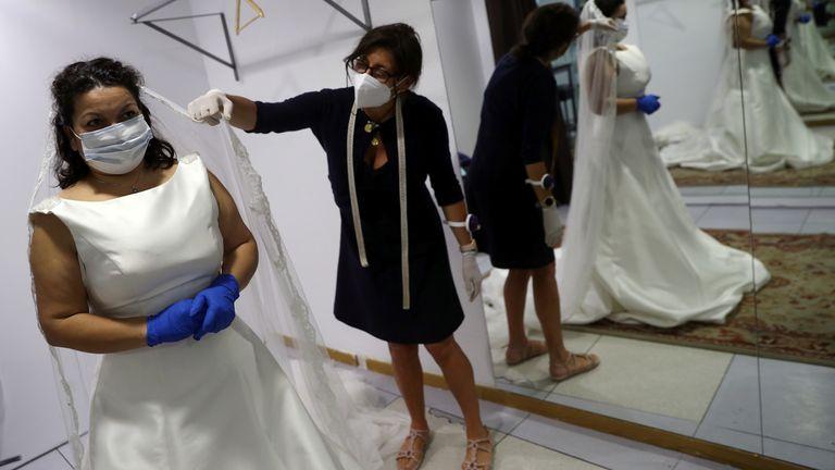 A bride chooses her dress in Spain