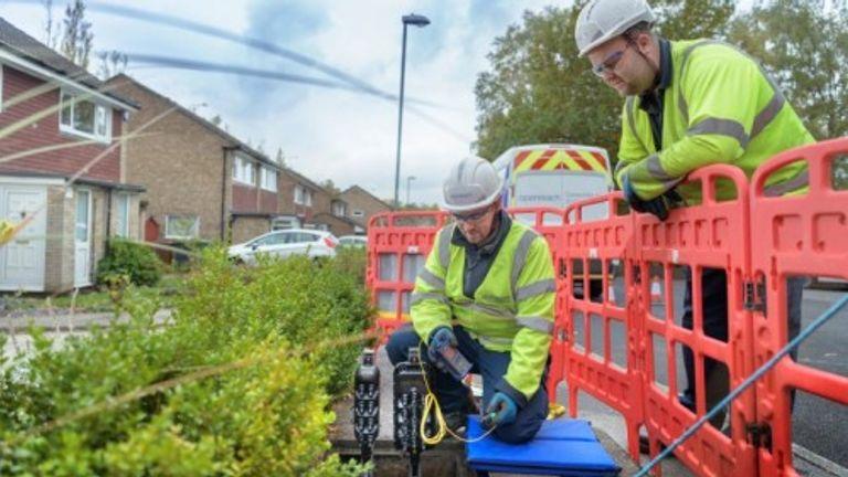 BT engineers installing broaband