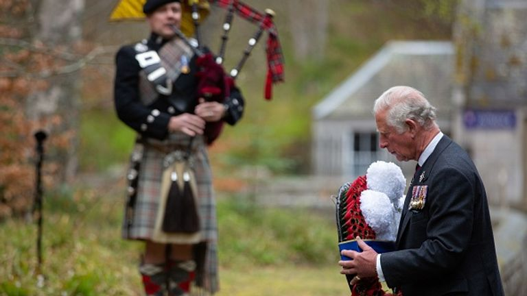 Prince Charles and the Duchess of Cornwall led the silence from Balmoral