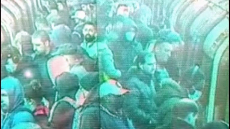 CCTV shows a packed platform on the West Ham Jubilee line at rush hour