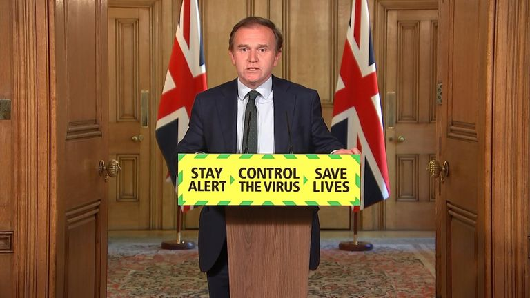 George Eustice, environment secretary, leads the government's daily coronavirus press briefing at Downing St.