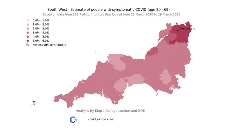 The 2 regional maps show that approx. 2 weeks after both events (29th March) both areas were hotspots, with significant higher percentage of predicted symptomatic COVID. Pic: Kings College London