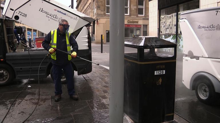 A street cleaner in Newcastle said that he was often chasing single pieces of litter due to the lockdown keeping people at home